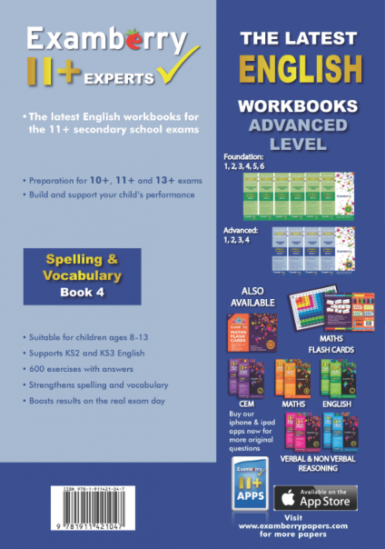 English spelling and vocab 11+ workbook for ages 8-13 to improve comprehension and performance